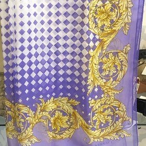 "VERSACE Purple/White/Gold Print 68"" X 27"" Scarf"